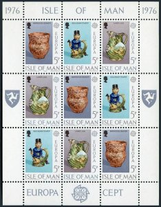 Isle of Man 86-91a sheets,MNH.Michel 82-87 klb. EUROPE CEPT-1976.Ceramic Art.