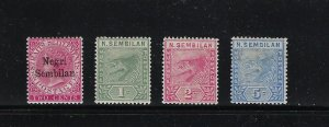 MALAYA NEGRI SEMBILAN 1891-94 SCOTT #1-4 (FIRST STAMPS)  - MINT HINGED