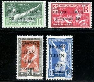 LEBANON Sc#18-21 1924 Olympic Games Overprints Complete Set OG Mint Hinged