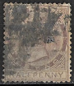 Tobago 1/2d brown violet Queen Victoria issue of 1882, Scott 14 Used