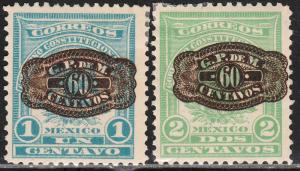 MEXICO 591-592, 60¢ BARRIL on 1&2¢.DENVER ISSUE #592 CREASED UNUSED, H OG. VF.