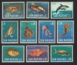 San Marino Fish Dolphins Octopus Jellyfish Marine Life 10v SG#804-813 MI#869-878