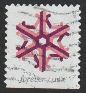 SC# 5034 (49c) - Geometric Snowflakes, rose, used single off paper