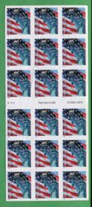 COLOR SHIFT ERROR Lady Liberty & US Flag #3975a / 18 Self - Adhesive Stamps - RB