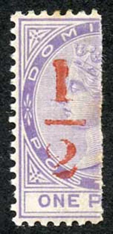 Dominica SG11 1882-83 1/2d in Red on half 1d Bisect (Type 3) M/M