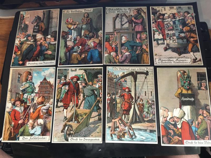 Germany Set of 8 Unused Postcards c.1920s Featuring Diff. Punishments VF Unusual