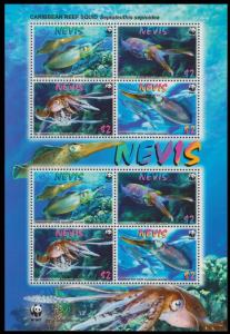 Nevis WWF Caribbean Reef Squid Sheetlet of 2 sets SG#MS2159 MI#2380-2383
