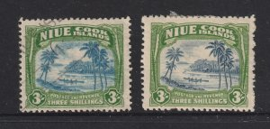 Niue the MH & U pair of 3/- from the 1938 set