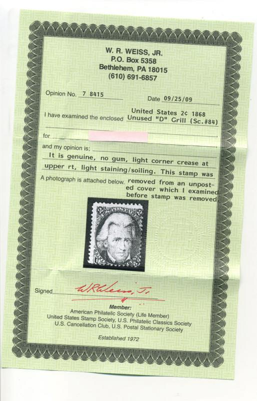 Scott 84 Jackson D-Grill Unused Stamp with Weiss Cert (Stock 84-12)