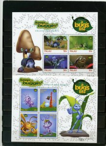 PALAU 1998 WALT DISNEY A BUGS LIFE 2 SHEETS OF 4 STAMPS MNH