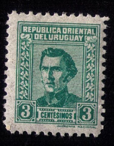 Uraguay MH Scott #572 3c Green Artigas F-VF