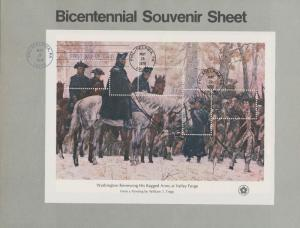#1689h BICENTENNIAL S/S USA / 31¢ OMITTED MAJOR ERROR ON 1ST DAY COVER WL3772
