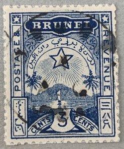 Brunei: 1895 3c Star and Crescent local, used.  Scott A4.  CV $16.50. SG 4