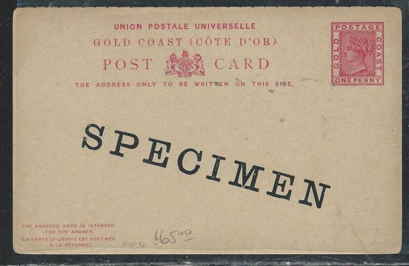 GOLD COAST (P3006B) QV REPLY PSC OVERPRINTED SPECIMEN