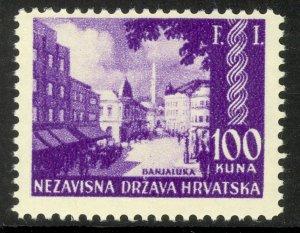 CROATIA 1942 100k BAJALUKA Bosnia PHILATELIC EXHIBITION Issue Sc 52 MNH