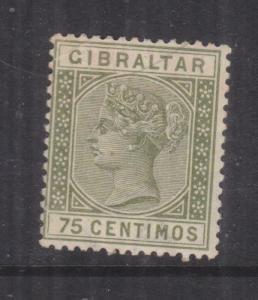 GIBRALTAR, 1890 75c. Olive Green, mnh., slight toning.