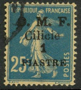 CILICIA 1920 1pi on 25c Sower w OMF Overprint Scott 122 VFU