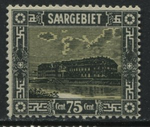 Germany Saar 1922 75 centimes black & straw unmounted mint NH