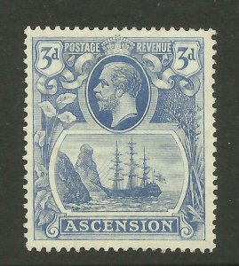 ASCENSION 1924 Sg 14, 3d Blue Mounted Mint with gum. ( Box 5-6}