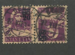 1921 Switzerland William Tell Postage Stamp #197a Tete Beche Pair VALUE $110