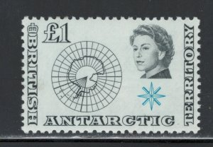 British Antarctic Territory 1963 Map of Antarctica £1 Scott # 15 MH