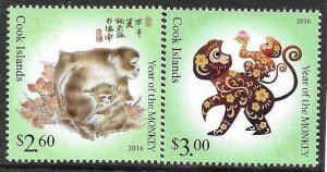 2015   COOK ISLANDS  -  SG. 1872 / 1873  -  YEAR OF THE MONKEY  -  MNH