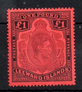 Leeward Islands KGVI 1938 £1 Perf 14 MNH #114A (light crease) WS13908