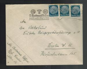 1936 Kiel Germany Cover to Berlin 2 Nordmark Treffen Waffen SS Cancel