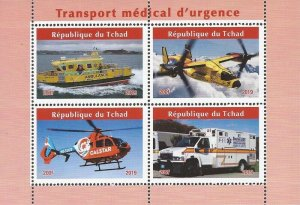 Chad - 2019 Emergency Medical Vehicles - 4 Stamp Sheet - 3B-729