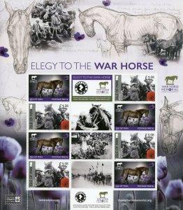 Isle of Man IOM Military & War Stamps 2020 MNH WWI WW1 Elegy to Warhorse 8v M/S