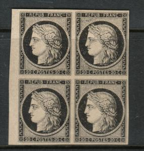France #3d Extra Fine Mint Imperforate Block With Black Ceres Reprint