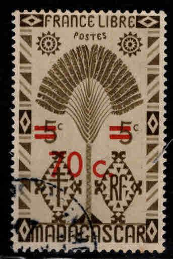 Madagascar Scott 263 Used  1945 surcharged stamp