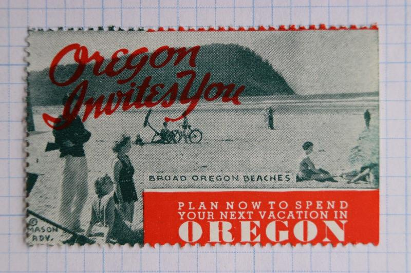 Oregon Coast Invites You Beach Ocean vacation Mason ad Poster stamp Tourism idea