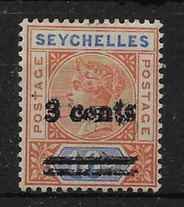 SEYCHELLES SG38b 1901 3c ON 16c CHESTNUT & BLUE OVPT DOUBLE VAR MTD MINT CERT