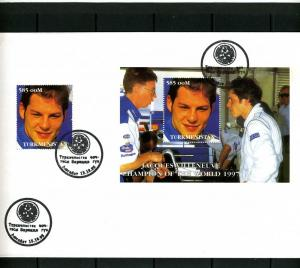 Turkmenistan 1998 Formula 1 J.Villeneuve Set + s/s Perforated in official FDC