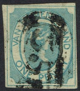 TASMANIA 1853 QV COURIER 1D EARLY PRINTING SG 1 USED WITH CERTIFICATE