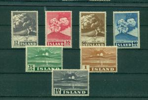 Iceland - Sc# 246-52. 1948 Volcano. Never Hinged. $99.30.