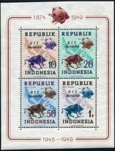 Indonesia Republic 65b,65c RIS Merdeka,MNH.Michel Bl.3A-3B. UPU-75.1949.