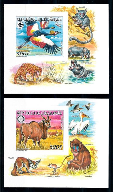 [95671] Guinea 1987 Scouting Rotary Birds Wild Life 2 Imperf. Sheets MNH