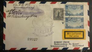 1936 St Petersburg FL USA Hindenburg Zeppelin Airmail cover LZ 129 To Germany Z