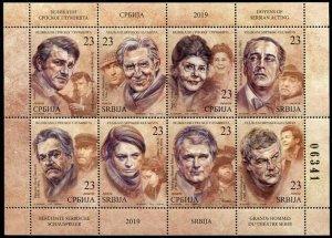 HERRICKSTAMP NEW ISSUES SERBIA Sc.# 852 Actors 2019 Sheetlet