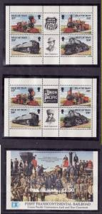 Isle of Man-Sc#517b x 2,518a-unused NH panes from the booklet-Trains-Locomotives