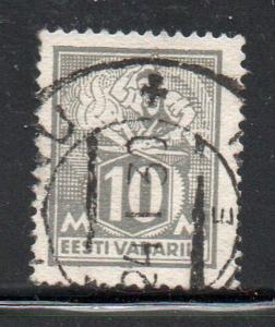 Estonia Sc  89 1928 10m gray Blacksmith Philatelic Exhibition stamp used
