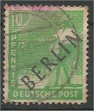 BERLIN, 1948, used 10pf  Overprinted Scott 9N4