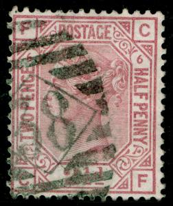 SG141, 2½d rosy mauve PLATE 6, USED. Cat £60. CF