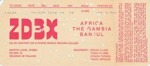 7360 Amateur Radio QSL Card  AFRICA THE GAMBIA BANJUL