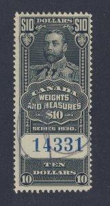 Canada Revenue Weights & Measures Stamp; #FWM71-$10.00 U. Guide Value = $30.00
