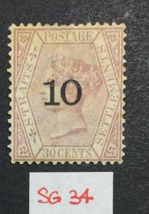 MOMEN: MALAYA STRAITS SG #34 1880 UNUSED £325 LOT #219147-502