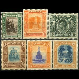 JAMAICA 1921 - Scott# 81-7 Buildings 4p-10s LH