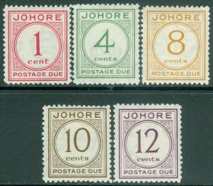 MALAYA : Johore 1938. Stanley Gibbons #D1-5 Very Fine, MOG. Fresh set. Cat £200.